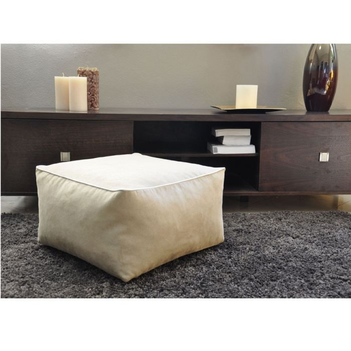 pouf coussin de sol carre beige achat vente pouf poire microfibre 100 polyester cdiscount. Black Bedroom Furniture Sets. Home Design Ideas