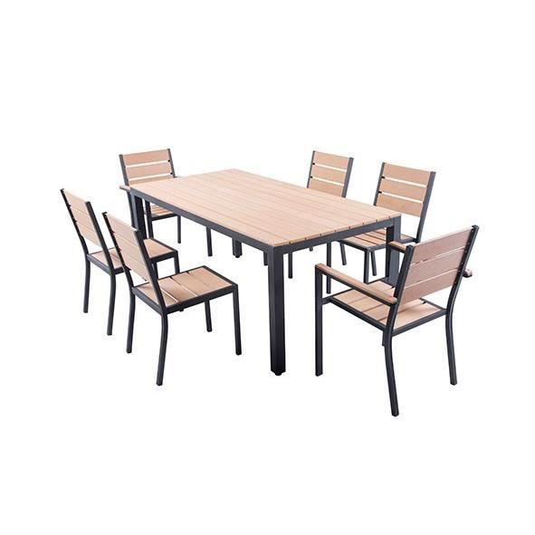 ensemble table de jardin 180 cm 2 fauteuils 4 chaises aluminium et polywood aspect bois. Black Bedroom Furniture Sets. Home Design Ideas