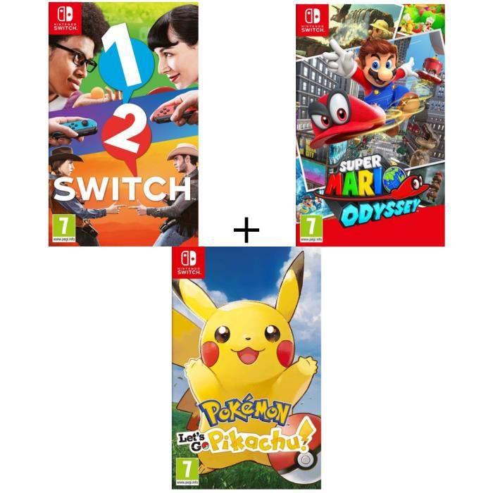 JEU NINTENDO SWITCH Pack 3 jeux Switch : Pokémon : Let's go, Pikachu +