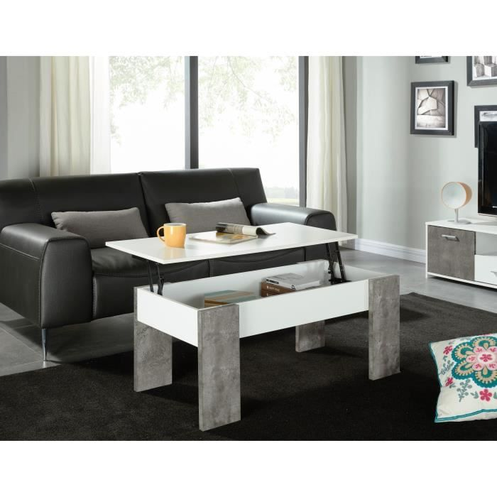 basile table basse plateau relevable 100x50 cm blanc et effet b ton achat vente table. Black Bedroom Furniture Sets. Home Design Ideas