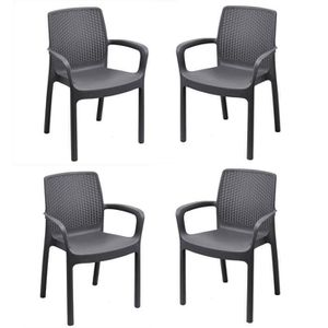 FAUTEUIL JARDIN  Lot de 4 fauteuil empilable REGINA en résine tréss