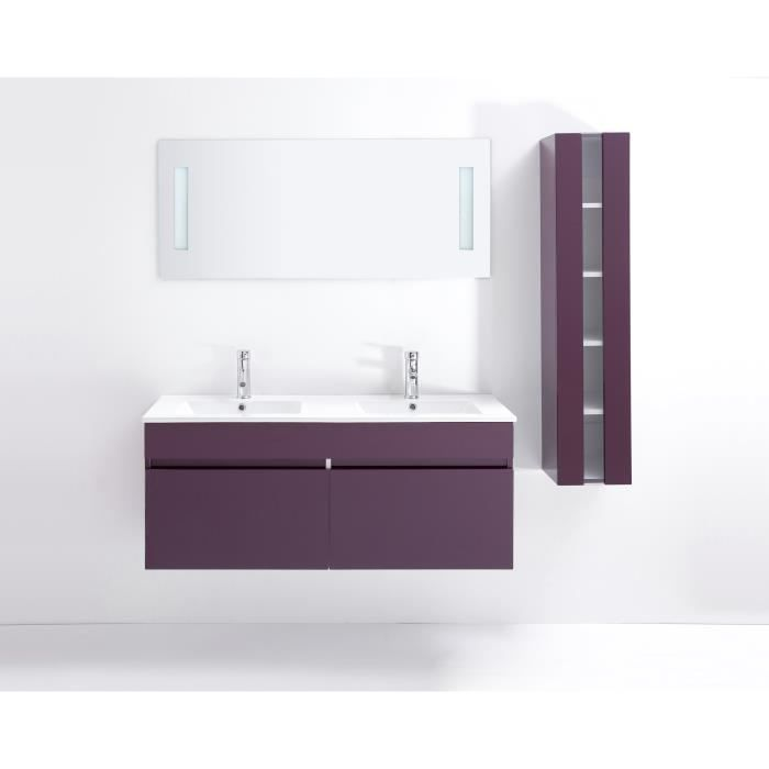 Alban ensemble salle de bain simple vasque 80 cm aubergine for Ensemble salle de bain