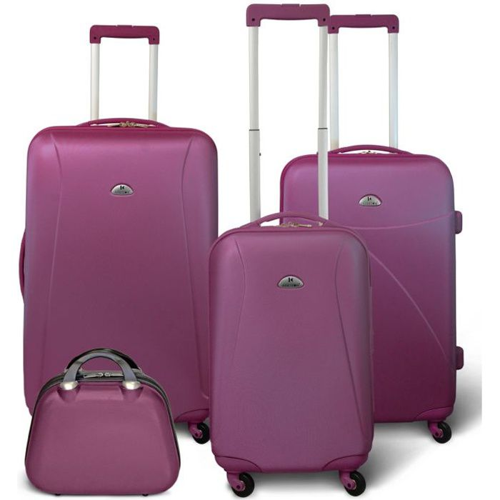 SET DE VALISES KINSTON Set 3 valises 4 roues + Vanity Violet