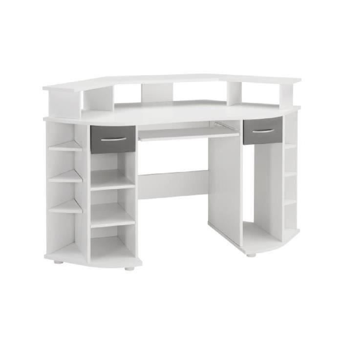 working bureau d 39 angle contemporain blanc et gris l 146 cm achat vente bureau working. Black Bedroom Furniture Sets. Home Design Ideas