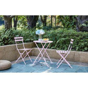 SALON DE JARDIN  FINLANDEK - Set bistrot table avec 2 chaises - Ø 6
