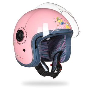 CASQUE MOTO SCOOTER MINIONS Casque Jet Flower Enfant Rose