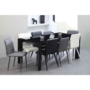 table extensible en verre 6 10 places blanche summary. Black Bedroom Furniture Sets. Home Design Ideas