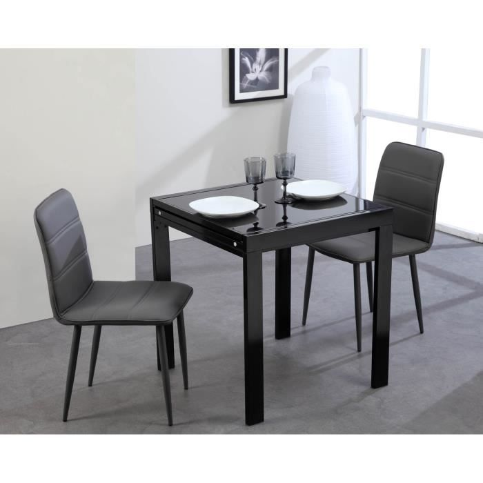 Capri table extensible 70 140cm noir achat vente table for Table extensible 140 cm