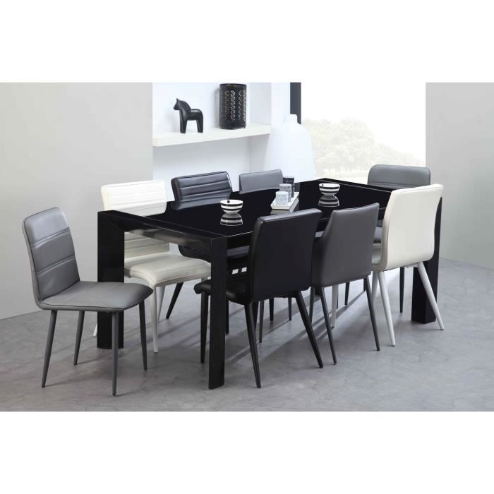 milano table manger extensible en m tal et verre tremp 8 12 personnes 180 270x90 cm laqu. Black Bedroom Furniture Sets. Home Design Ideas