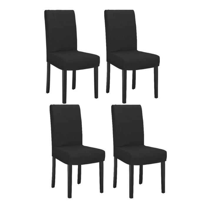 strip lot de 4 chaises de salle manger d houssables noires achat vente chaise cdiscount. Black Bedroom Furniture Sets. Home Design Ideas