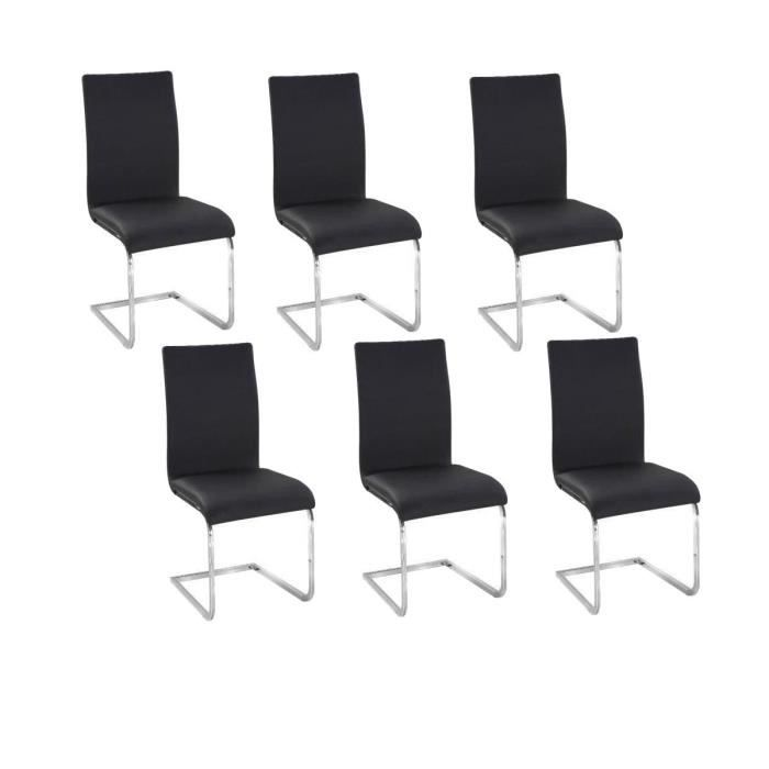 Lea lot de 6 chaises salon noir achat vente chaise for Chaise salon noir