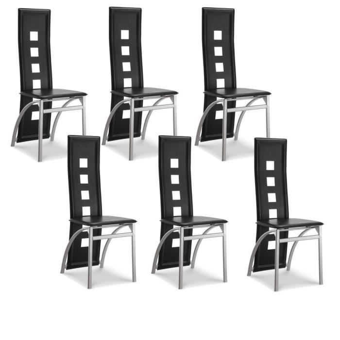 chaise de salle a manger alu lot de 6. Black Bedroom Furniture Sets. Home Design Ideas