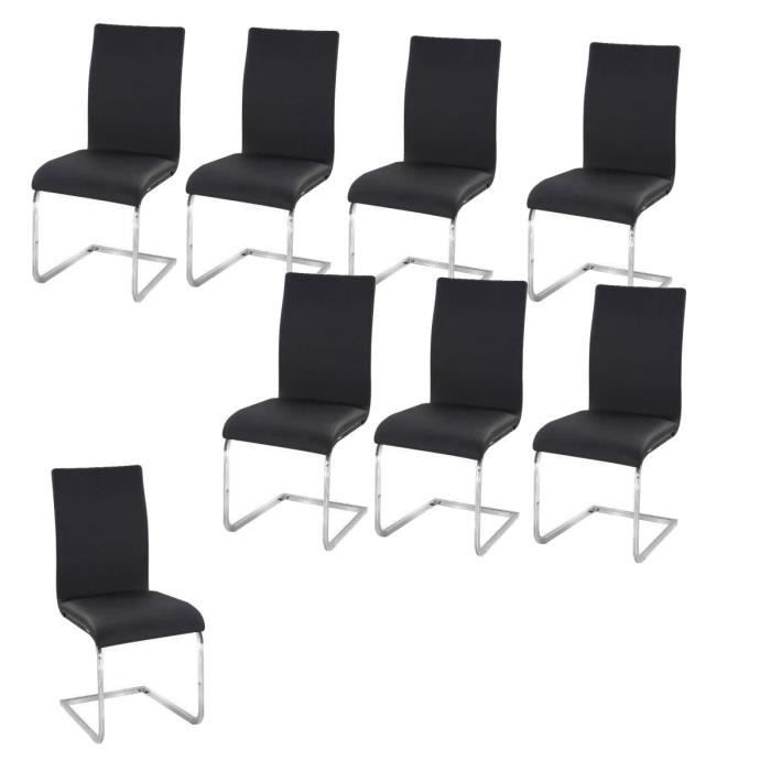 Chaise lea lot de 8 chaises salon noir for Chaise salon noir