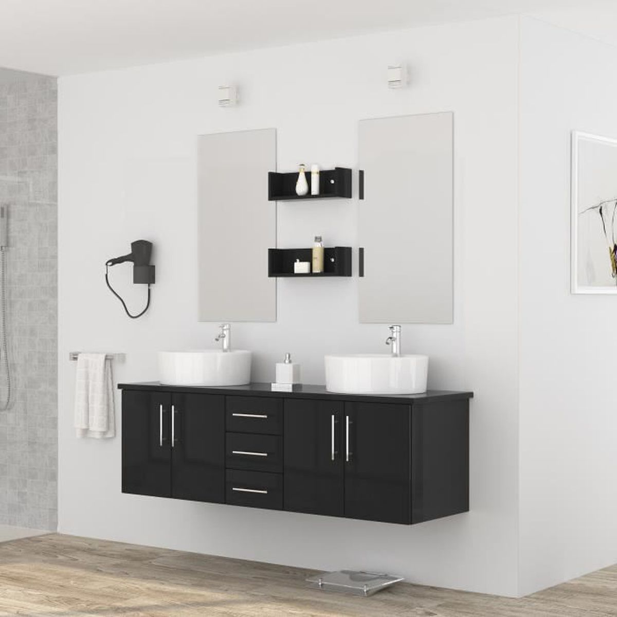 diva salle de bain compl te double vasque 150 cm laqu. Black Bedroom Furniture Sets. Home Design Ideas