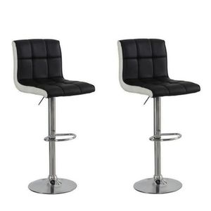 TABOURET DE BAR JOKER Lot de 2 tabourets de bar - Simili noir et b