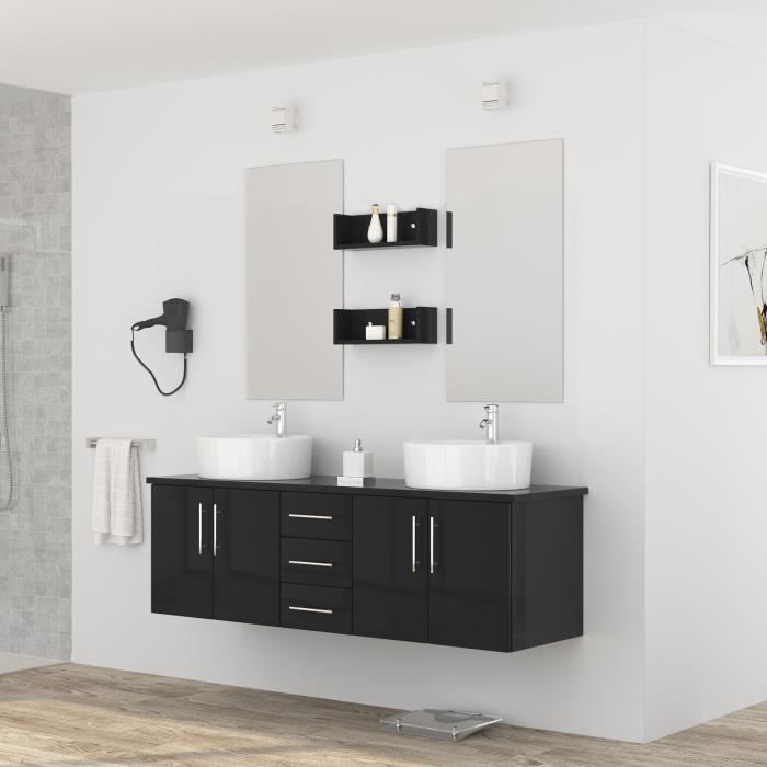 diva salle de bain compl te double vasque l 150 cm laqu noir brillant achat vente salle. Black Bedroom Furniture Sets. Home Design Ideas