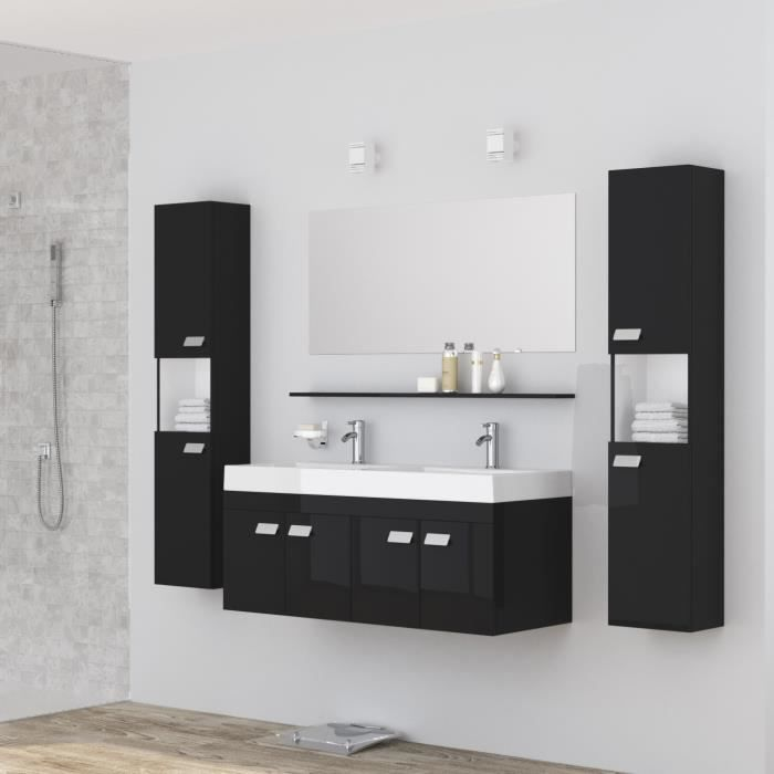 alpos ensemble salle de bain double vasque avec miroir l 120 cm laqu noir brillant achat. Black Bedroom Furniture Sets. Home Design Ideas