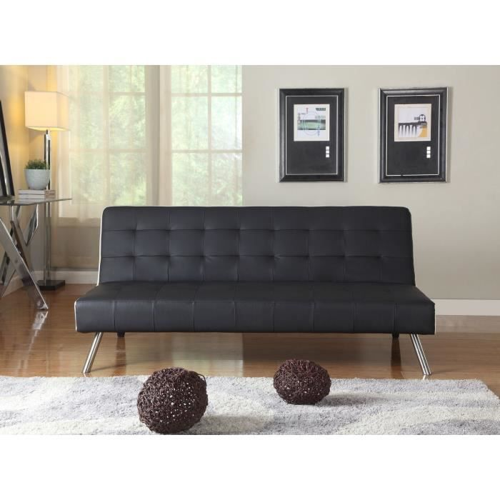 samba banquette convertible lit 3 places simili noir c t blanc achat vente clic clac pu. Black Bedroom Furniture Sets. Home Design Ideas