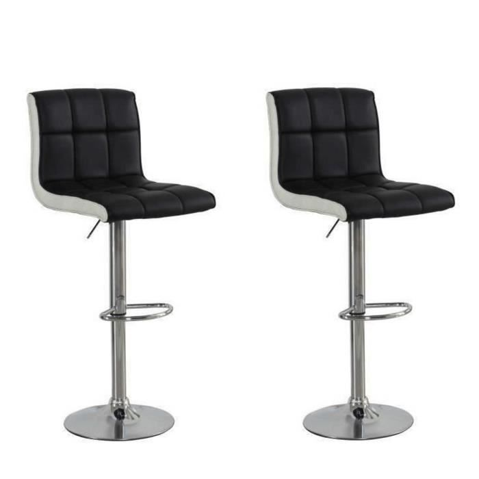 joker lot de 2 tabourets de bar r glables en simili noir et blanc achat vente tabouret de. Black Bedroom Furniture Sets. Home Design Ideas