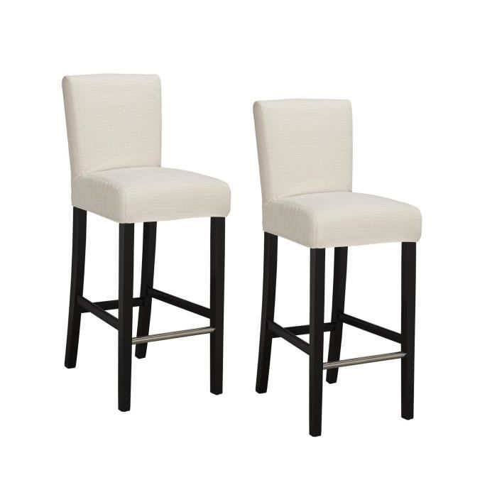 elvis lot de 2 tabourets de bar tissu ivoire contemporain l 39 x p 49 5 cm achat vente. Black Bedroom Furniture Sets. Home Design Ideas