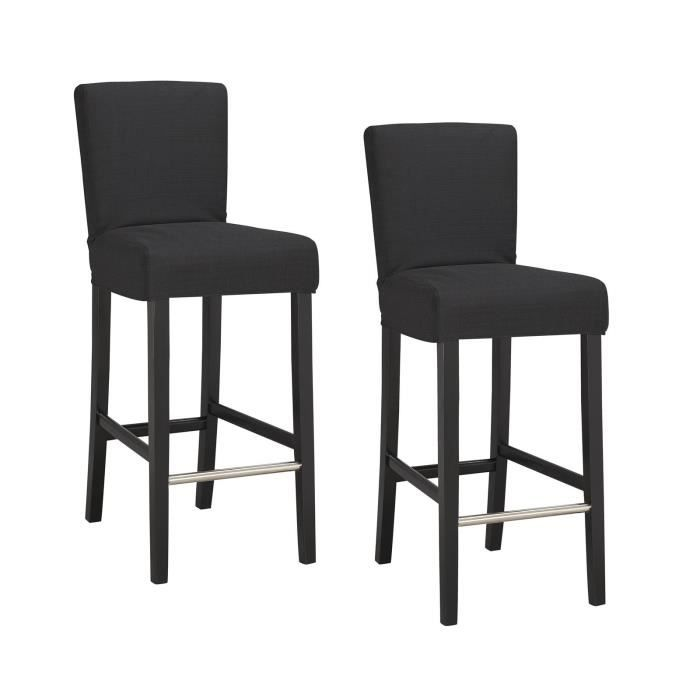elvis lot de 2 chaises de bar d houssables noires achat vente tabouret de bar bois tissu. Black Bedroom Furniture Sets. Home Design Ideas