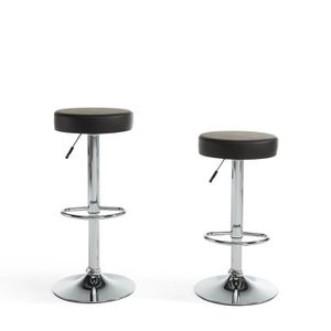 TABOURET DE BAR PADDY Lot de 2 tabourets de bar réglables en simil