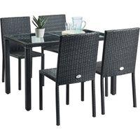 Ensemble repas de jardin 4 personnes - table 120x70cm avec plateau verre trempé et 4 chaises en résine tressée - Noir  - TABLECHAIRP