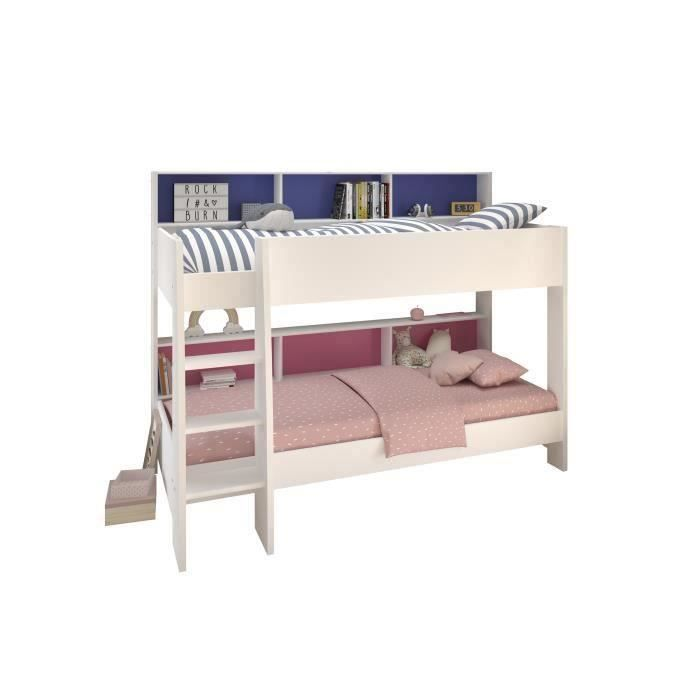 jim lit superpos enfant fille avec sommiers d cor blanc. Black Bedroom Furniture Sets. Home Design Ideas
