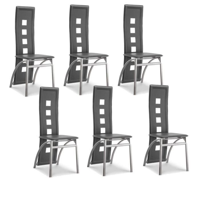 eiffel lot de 6 chaises de salle manger grises simili et aluminium design achat vente. Black Bedroom Furniture Sets. Home Design Ideas