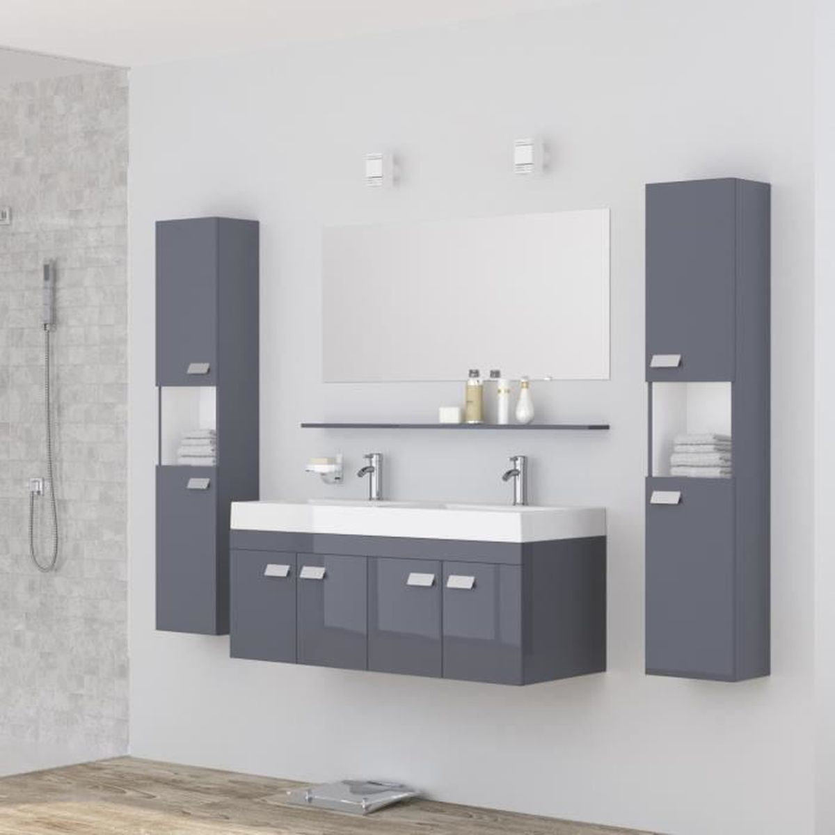 alpos salle de bain compl te double vasque 120 cm laqu gris brillant achat vente salle de. Black Bedroom Furniture Sets. Home Design Ideas