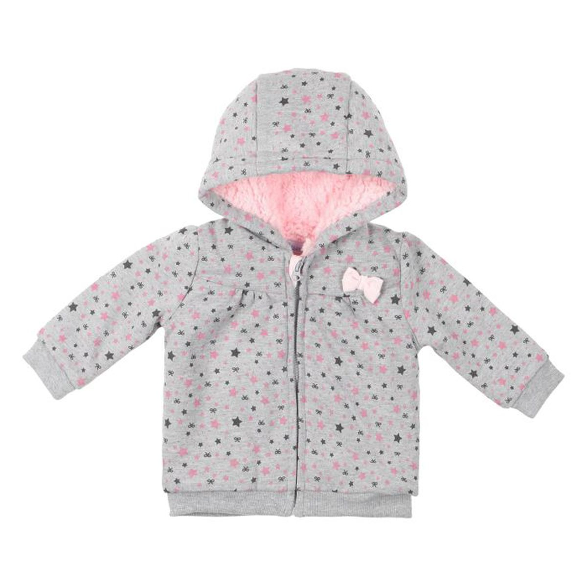 bebe reve gilet capuche b b fille gris noir et rose achat vente gilet cardigan soldes. Black Bedroom Furniture Sets. Home Design Ideas