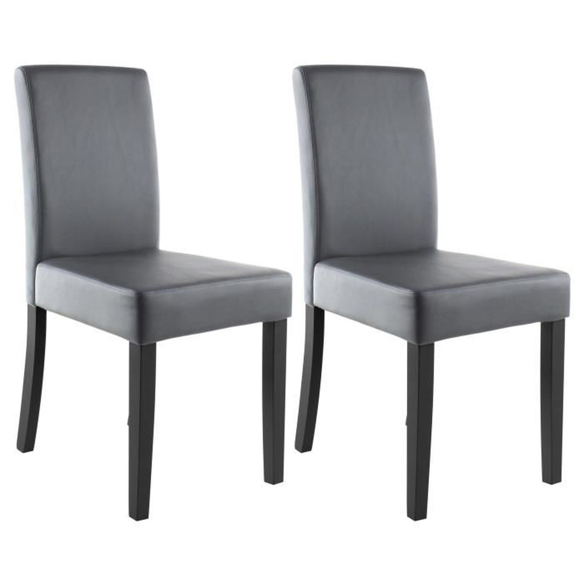 Clara lot de 2 chaises de salle a manger simili gris for Salle À manger contemporaineavec lot chaises