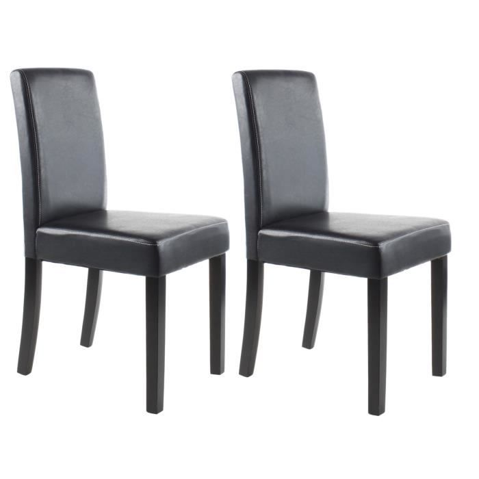 clara lot de 2 chaises de salle manger simili noir. Black Bedroom Furniture Sets. Home Design Ideas