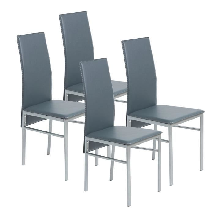 First lot de 4 chaises de salle manger en simili gris for Chaise salle a manger lot de 4