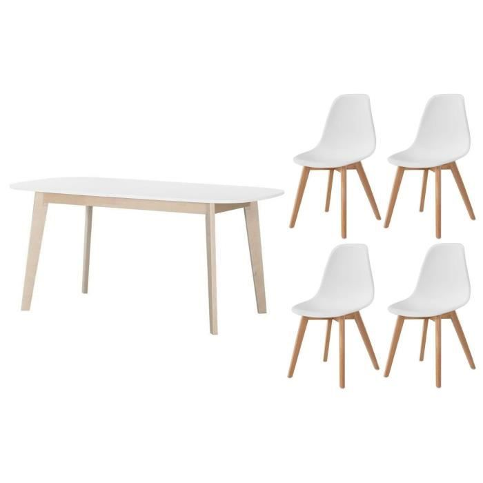 ensemble table manger extensible naiss de 6 - Ensemble Table Et Chaise Style Scandinave