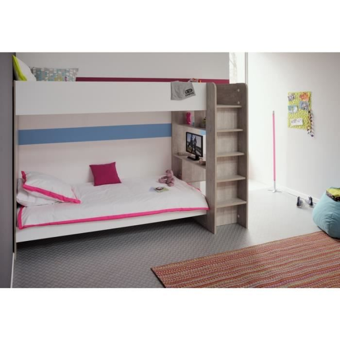 ludique lit superpos s enfant gris blanc l246 cm achat vente lits superposes ludique lit. Black Bedroom Furniture Sets. Home Design Ideas