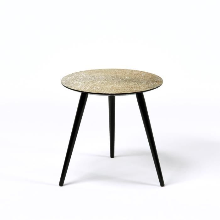Pepita table d 39 appoint ronde vintage en mdf recouverte de - Table d appoint ronde ...