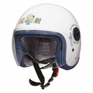 CASQUE MOTO SCOOTER MINIONS Casque Jet Bello Enfant Blanc