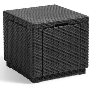 TABLE BASSE JARDIN  ALLIBERT JARDIN Table cube imitation rotin tressé