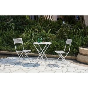 SALON DE JARDIN  Ensemble repas de jardin - Set bistrot table avec