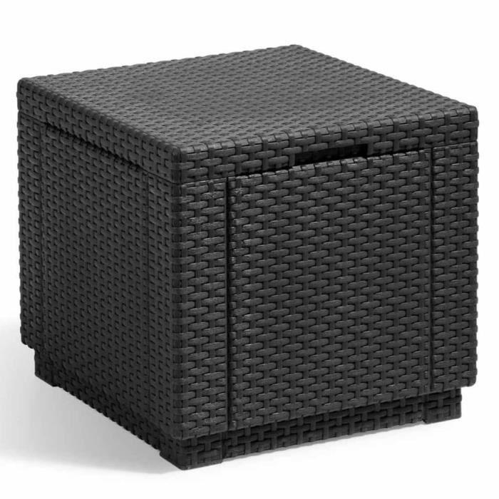 TABLE BASSE JARDIN  Table cube imitation rotin tressé avec rangement r