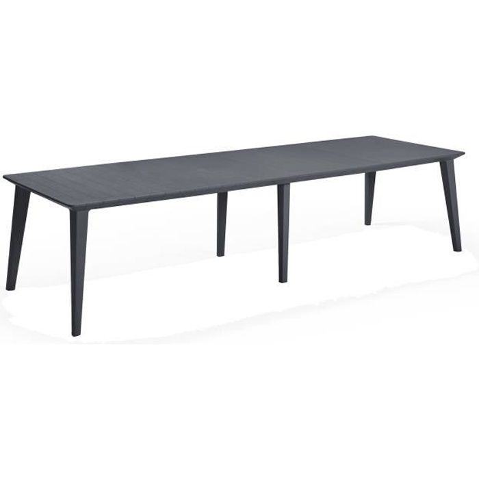 ALLIBERT JARDIN Table Lima 240 6-12 personnes avec allonge - Design  contemporain - Graphite