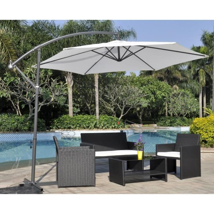 finlandek parasol excentr en aluminium 3m blanc achat vente parasol finlandek parasol. Black Bedroom Furniture Sets. Home Design Ideas