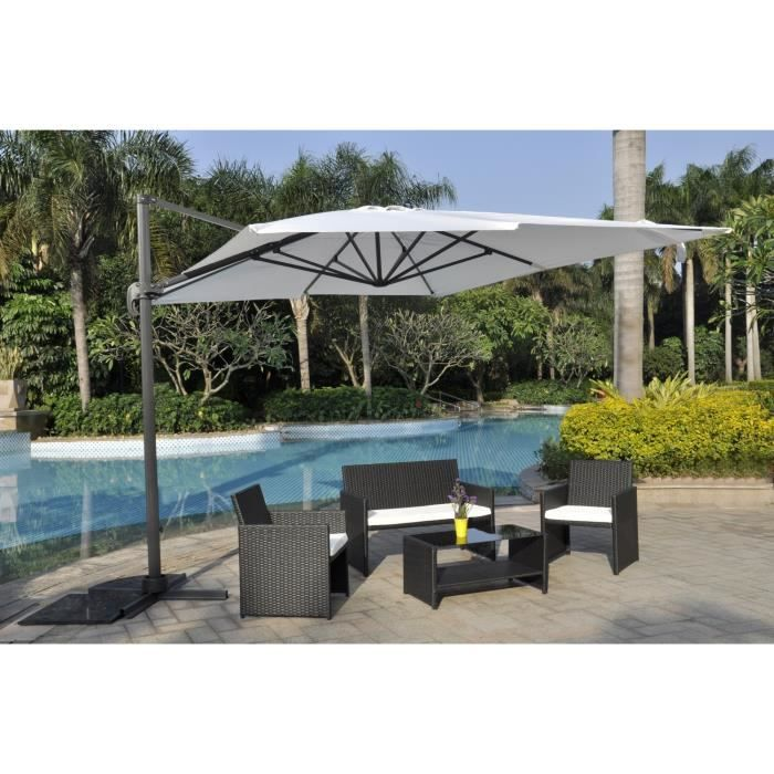 parasol d port rectangulaire 4 x 3 m rotatif 360. Black Bedroom Furniture Sets. Home Design Ideas