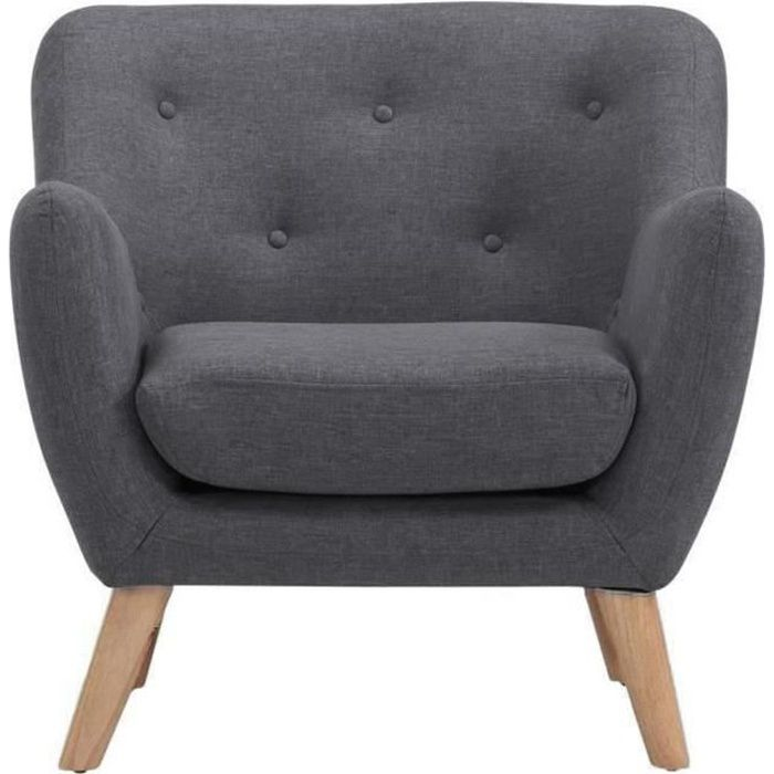 scandi fauteuil scandinave en tissu gris anthracite achat vente fauteuil structure bois. Black Bedroom Furniture Sets. Home Design Ideas