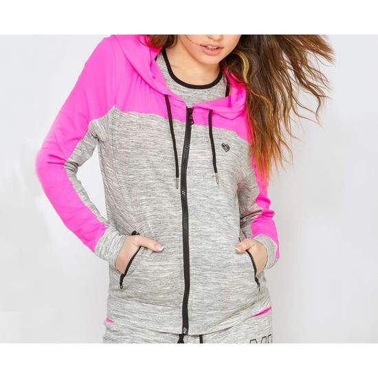 Zippée Gris Chiné Et Sweat Freegun Rose Femme Rose Veste q4ftqE
