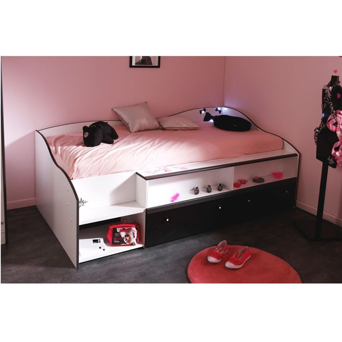 pretty lit enfant combin 90x190 blanc noir achat. Black Bedroom Furniture Sets. Home Design Ideas