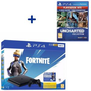 CONSOLE PS4 Console PS4 Slim 500Go Noire/Jet Black + Uncharted