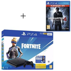 CONSOLE PS4 Pack PlayStation : PS4 Slim 500 Go Noire + Unchart