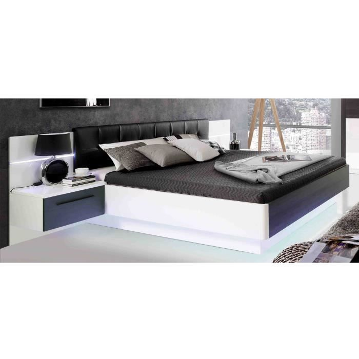 lit avec chevet integre achat vente pas cher. Black Bedroom Furniture Sets. Home Design Ideas